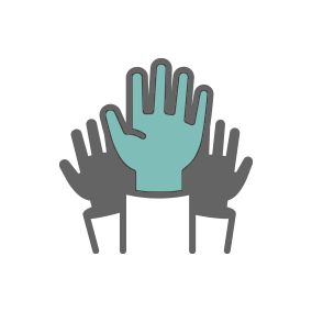 Icon of hands raised in participation