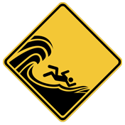 Beach safety sign_High surf