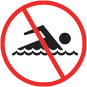 Beach safety sign_No swimming